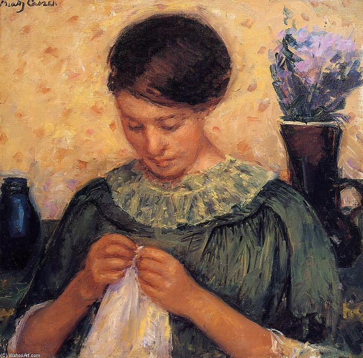 famous painting Woman Sewing of Mary Stevenson Cassatt