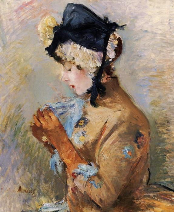famous painting Woman Wearing Gloves (also known as The Parisian) of Berthe Morisot
