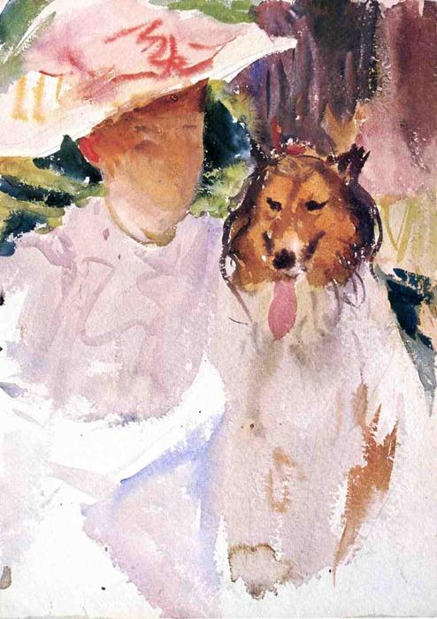 famous painting Woman with Collie of John Singer Sargent