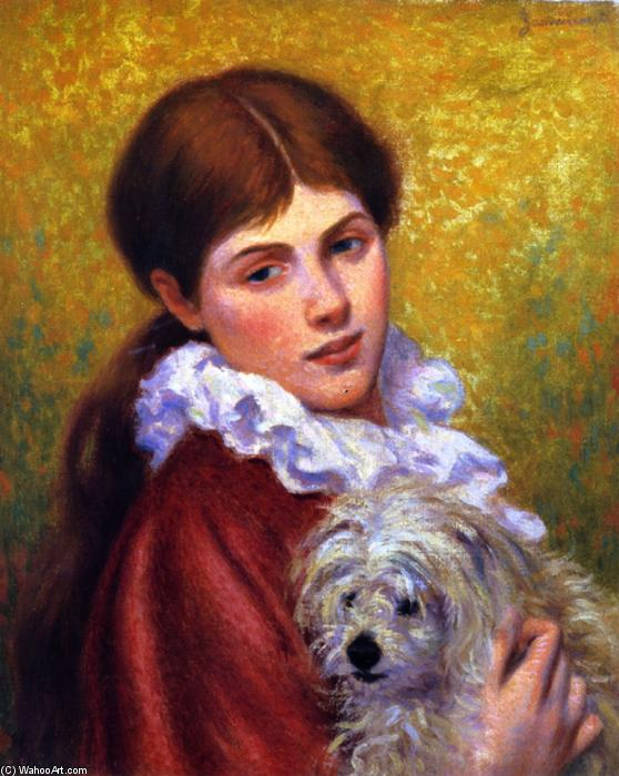 famous painting Woman with Dog of Federico Zandomeneghi