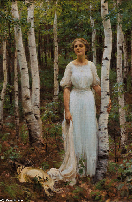 famous painting Woodland Solitude of Charles Courtney Curran