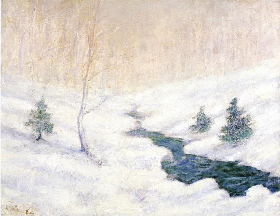 famous painting Woodland Stream in a Winter Landscape of John Henry Twachtman