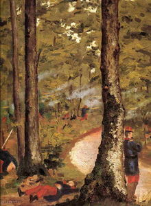 Gustave Caillebotte - Yerres, Soldiers in the Woods