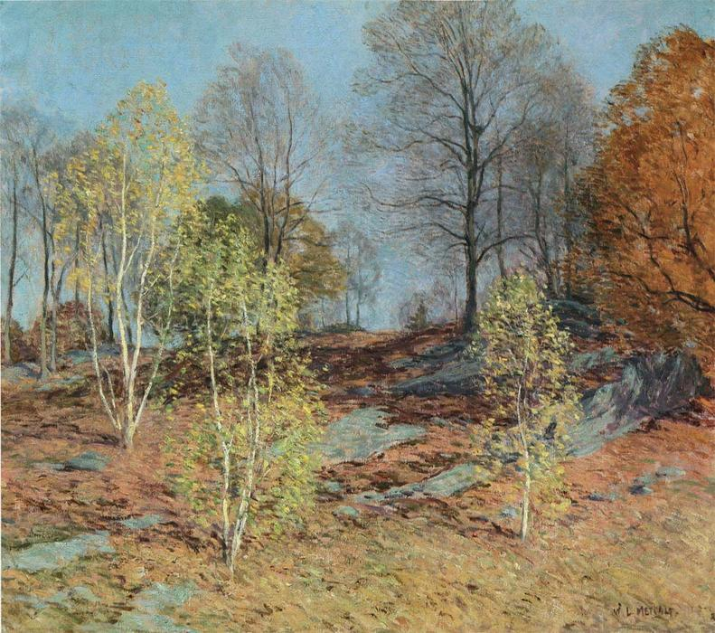 famous painting Young Birches in October of Willard Leroy Metcalf