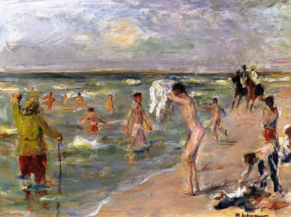 famous painting Young Boys Bathing at Zandvoort of Max Liebermann
