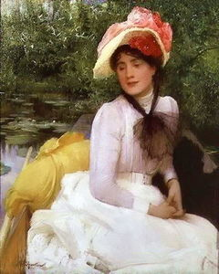 Arthur Hacker - Young girl in a punt