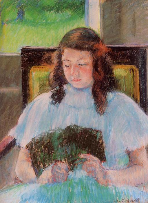 famous painting Young Girl Reading of Mary Stevenson Cassatt