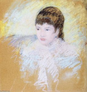 Mary Stevenson Cassatt - Young Girl with Brown Hair, Looking to Left