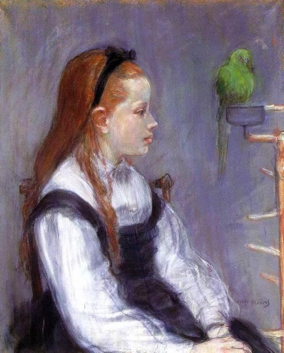famous painting Young Girl with a Parrot of Berthe Morisot