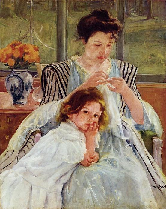 famous painting Young Mother Sewing of Mary Stevenson Cassatt