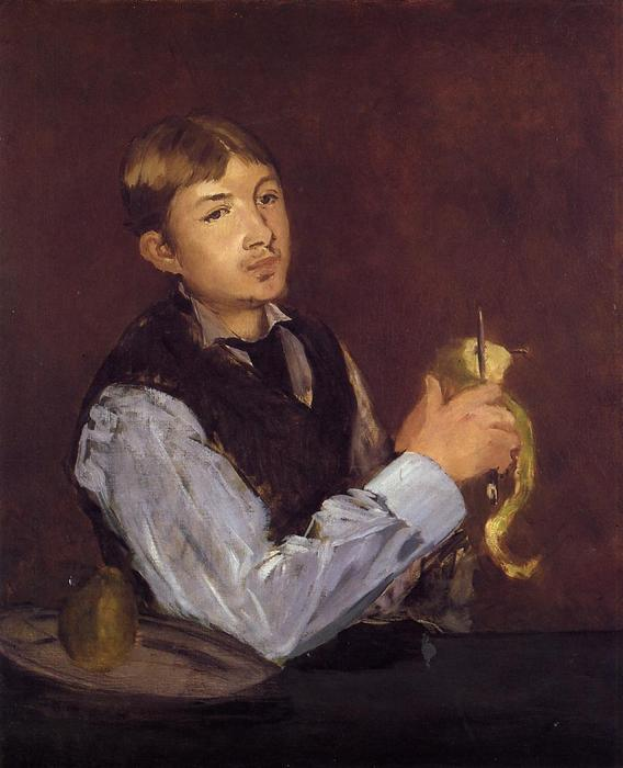 Order Paintings Reproductions Impressionism | Young Man Peeling a Pear (also known as Portrait of Leon Leenhoff) by Edouard Manet | TopImpressionists.com
