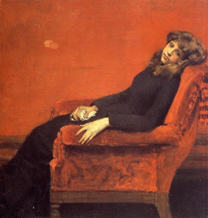 famous painting The Young Orphan, Study of a Young Girl (also known as At Her Ease) of William Merritt Chase