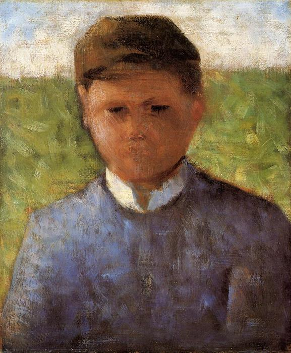 famous painting Young Peasant in Blue of Georges Pierre Seurat
