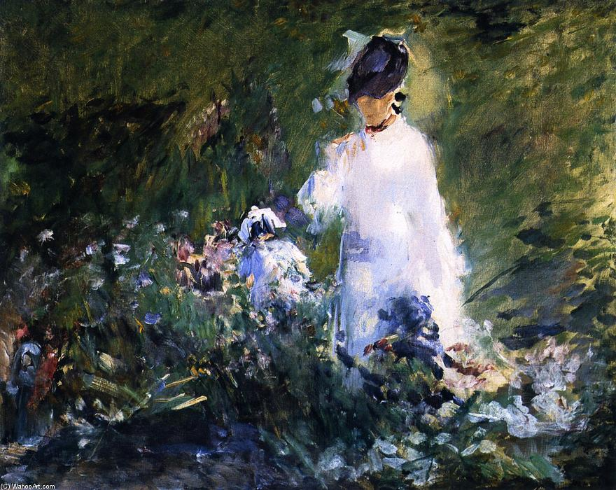 famous painting Young Woman among Flowers of Edouard Manet