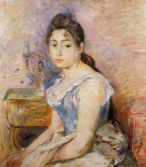 famous painting Young Woman in a Blue Blouse of Berthe Morisot