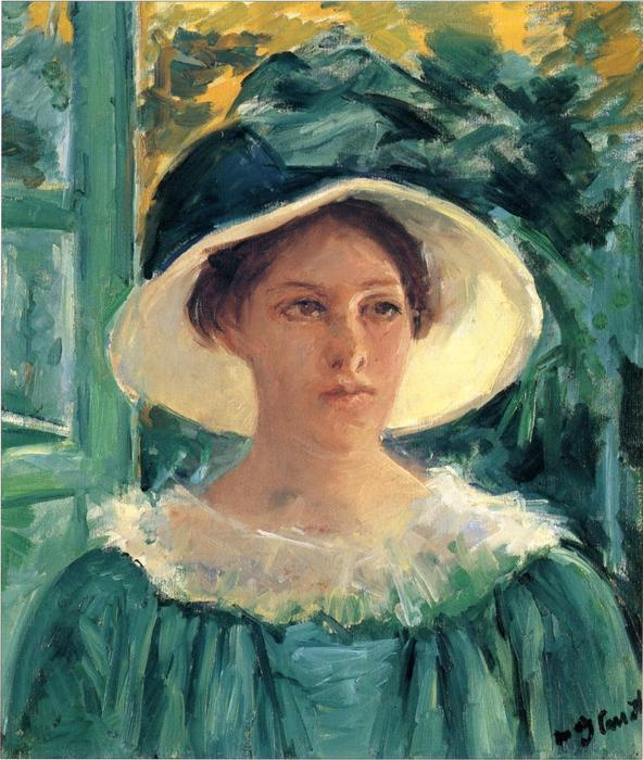 famous painting Young Woman in Green, Outdoors in the Sun of Mary Stevenson Cassatt