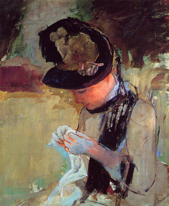 famous painting Young Woman Sewing in the Garden of Mary Stevenson Cassatt