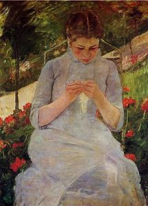 Mary Stevenson Cassatt - Young Woman Sewing in a Garden