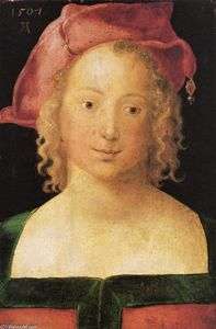 Albrecht Durer - Face a young girl with red beret