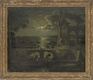 Abraham Pether - A Moonlit View Of A River With A Ruined Abbey In The Foreground And Figures On A Bridge