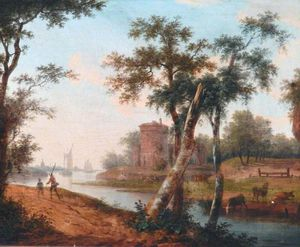Frans Swagers - Landscape With River, Ships In The Distance