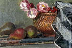 Vanessa Bell - Still Life Of Pears And Everlasting Flowers