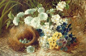 Vincent Clare - A Still Life Of Flowers And A Bird's Nest On A Mossy
