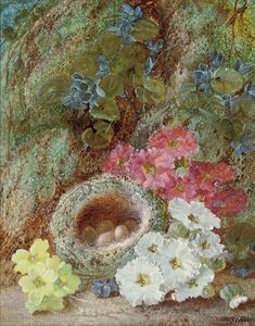 Vincent Clare - Primroses And A Bird's Nest On A Mossy Bank