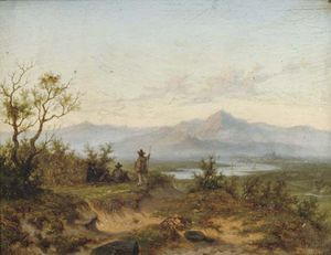 Willem Cornelis Rip - Artists Working In A Mountainous River Landscape