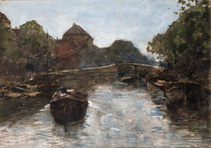 Wilhelmus Hendrikus Petrus Johannes Zwart - Barges In A Canal, The Hague