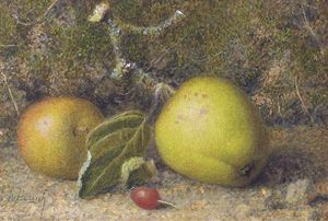 William Hough - Still-life Of Apples On A Mossy Bank With A Rosehip