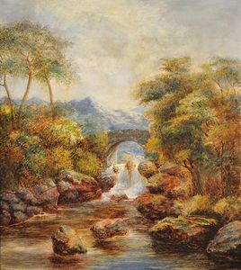 William Mellor - Alls By A Bridge In An Upland Landscape