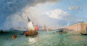 James Baker Pyne - Venice With The Strada Ferrata From The Lagoons