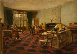 James William Giles - An Interior At Haddo With George, 4th Earl Of Aberdeen, Reading