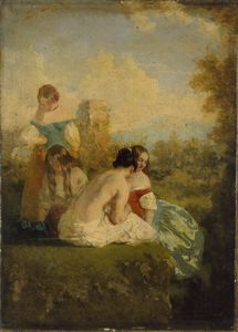 William Etty - Four Girls By A Stream