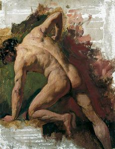 William Etty - Male Nude Sawing