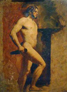 William Etty - Male Nude With Dagger