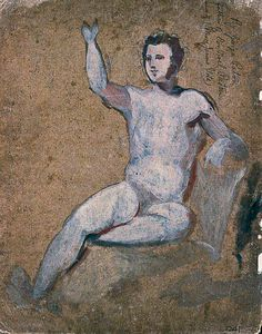 William Etty - Male Nude With Right Arm Raised
