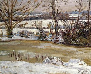 Duncan Grant - The Pond At Charleston, East Sussex, In Winter