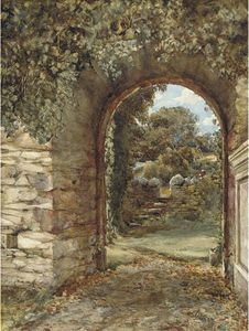 Edward Duncan - An Ivy-clad Arch With A View To A Garden Beyond