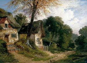 John Berney Ladbrooke - Thatched Cottages By A Woodland Track