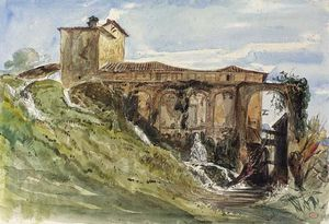 Paul Huet - A Villa Near Rome