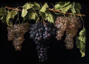 Juan Fernández - Still Life With Four Bunches Of Grapes By Juan Fernández