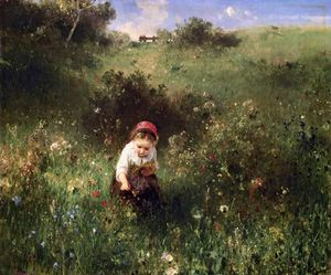 Ludwig Knaus - A Young Girl In A Field