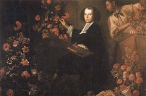 Mario Dei Fiori - Self-portrait With A Servant And Flowers