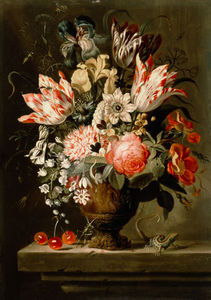 Jacob Marrel - Still Life Of Flowers In A Vase With A Lizard On A Ledge