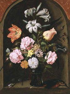Jan Baptist Van Fornenburgh - A Still Life Of Flowers In A Vase And A Kingfisher On A Ledge