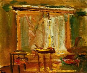 Janos Tornyai - Interior With Curtained Window