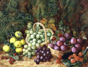 George Clare - Still Life With Apples And Baskets Of Grapes And Plums