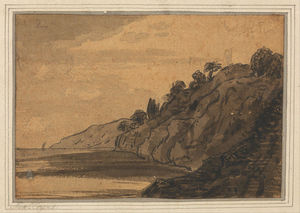 Alexander Cozens - Coastal Scene With Wooded Cliff